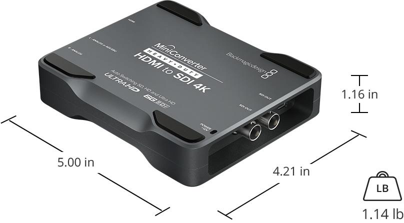 mini converter blackmagic design heavy duty hdmi to sdi 4k dimensioni
