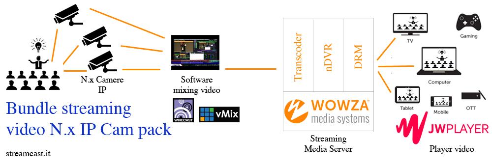 Soluzione streaming video ip for Camera diretta tv