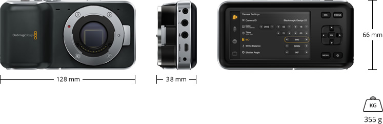 Pocket Cinema Camera Physical Specifications